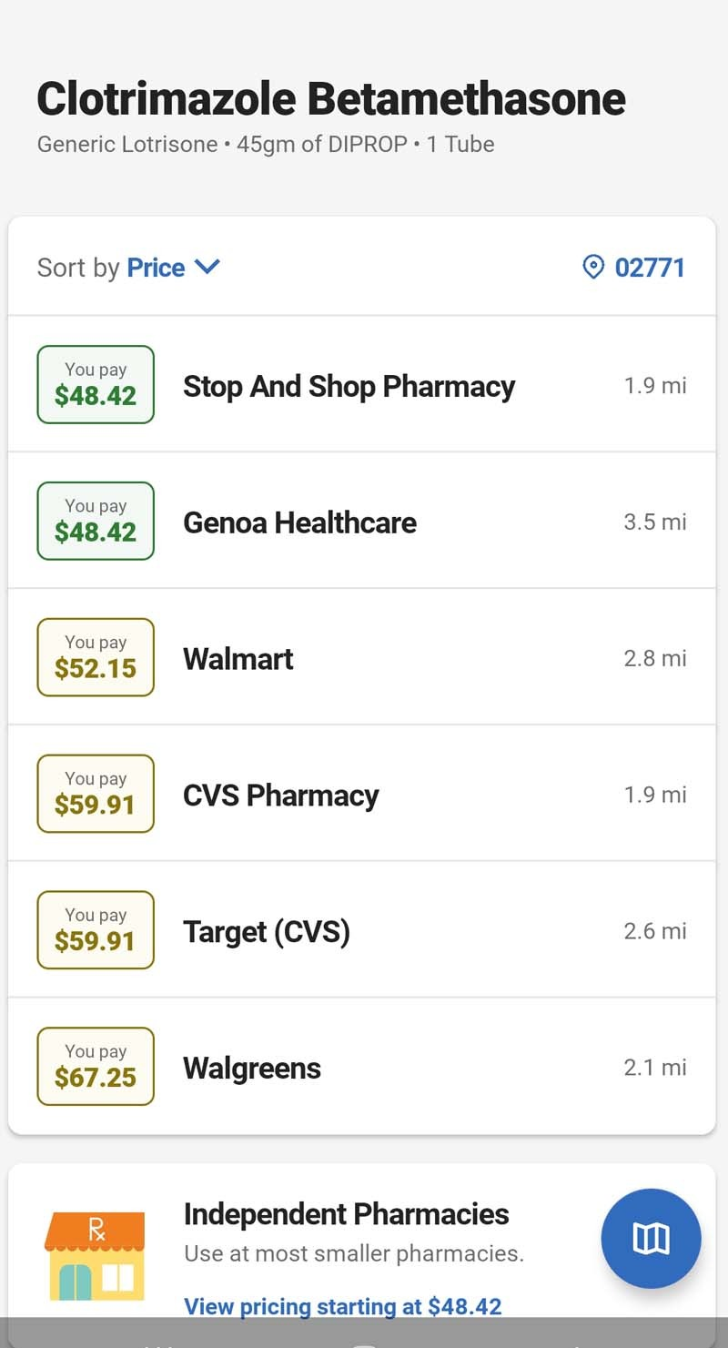 optum perks savings on a Clotrimazole and Betamethasone Dipropionate Cream. This is just a screen cap image from the phone app.