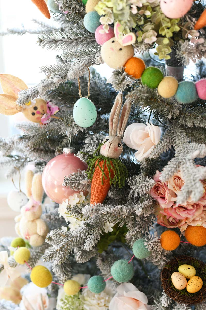 Easter Bunny & Egg Colorful Tree. A close up shot of a colorful farmhouse style Easter tree.