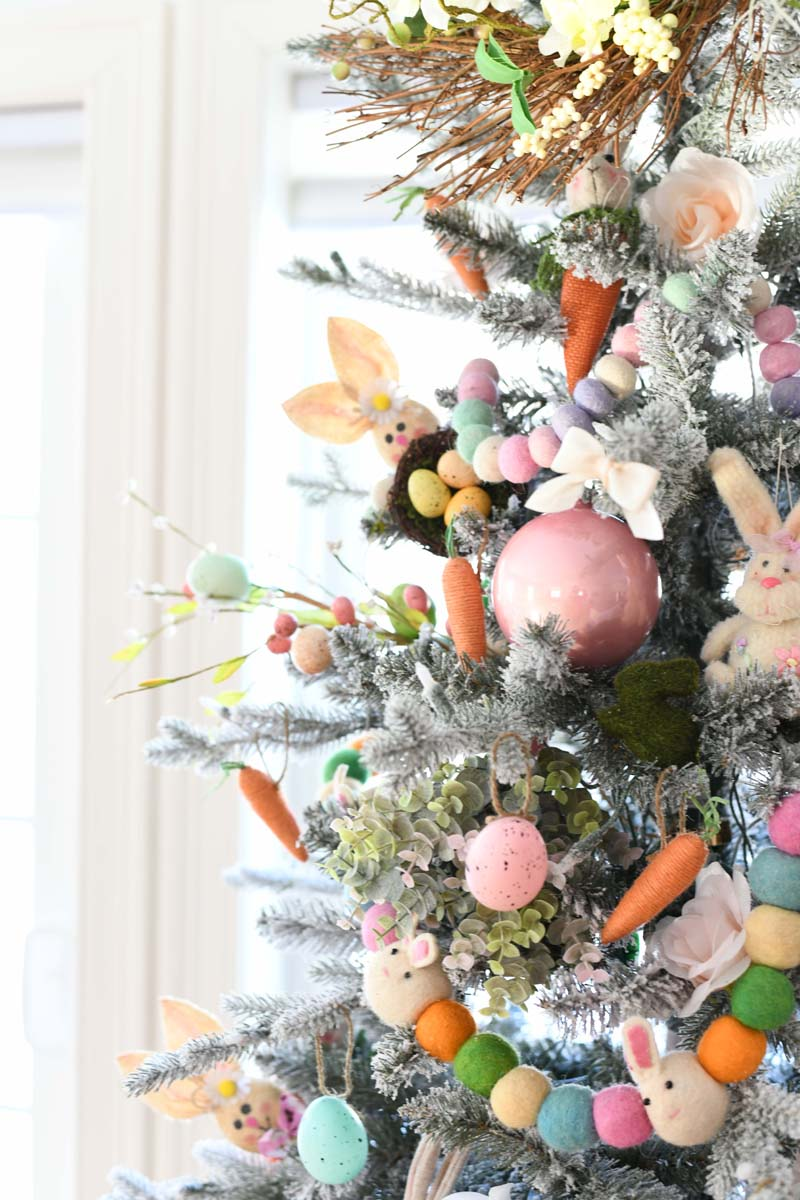 Easter Christmas Tree Decor. A side shot of a farmhouse style Easter tree up close.