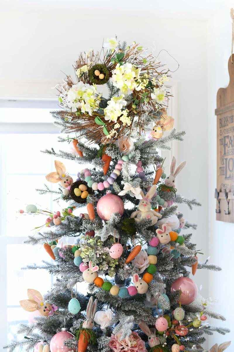 Farmhouse Chic Easter Tree. A colorful pastel colored Easter Tree in a dining room.
