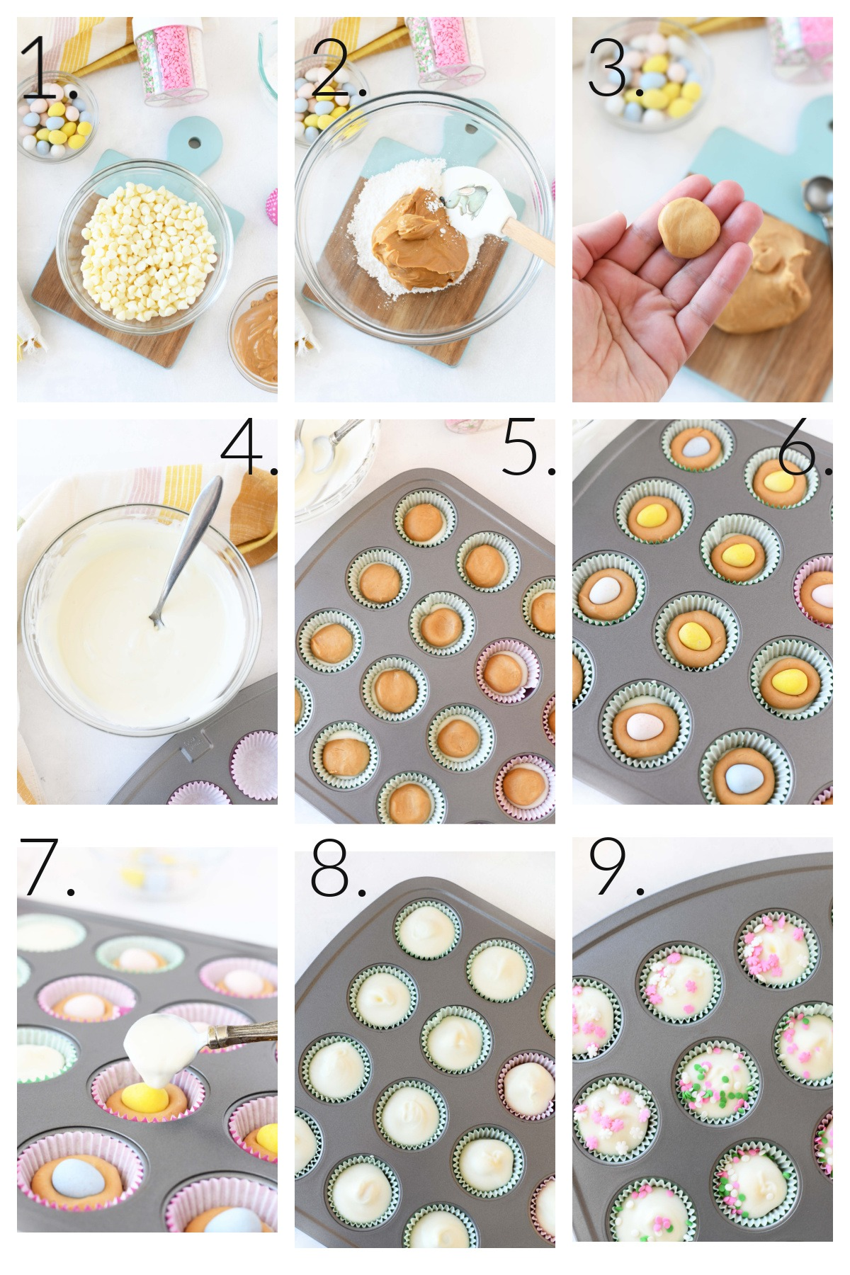 How to Make Easter Egg Peanut Butter Cups. A 9 block visual grid collage of how to make these mini cups.