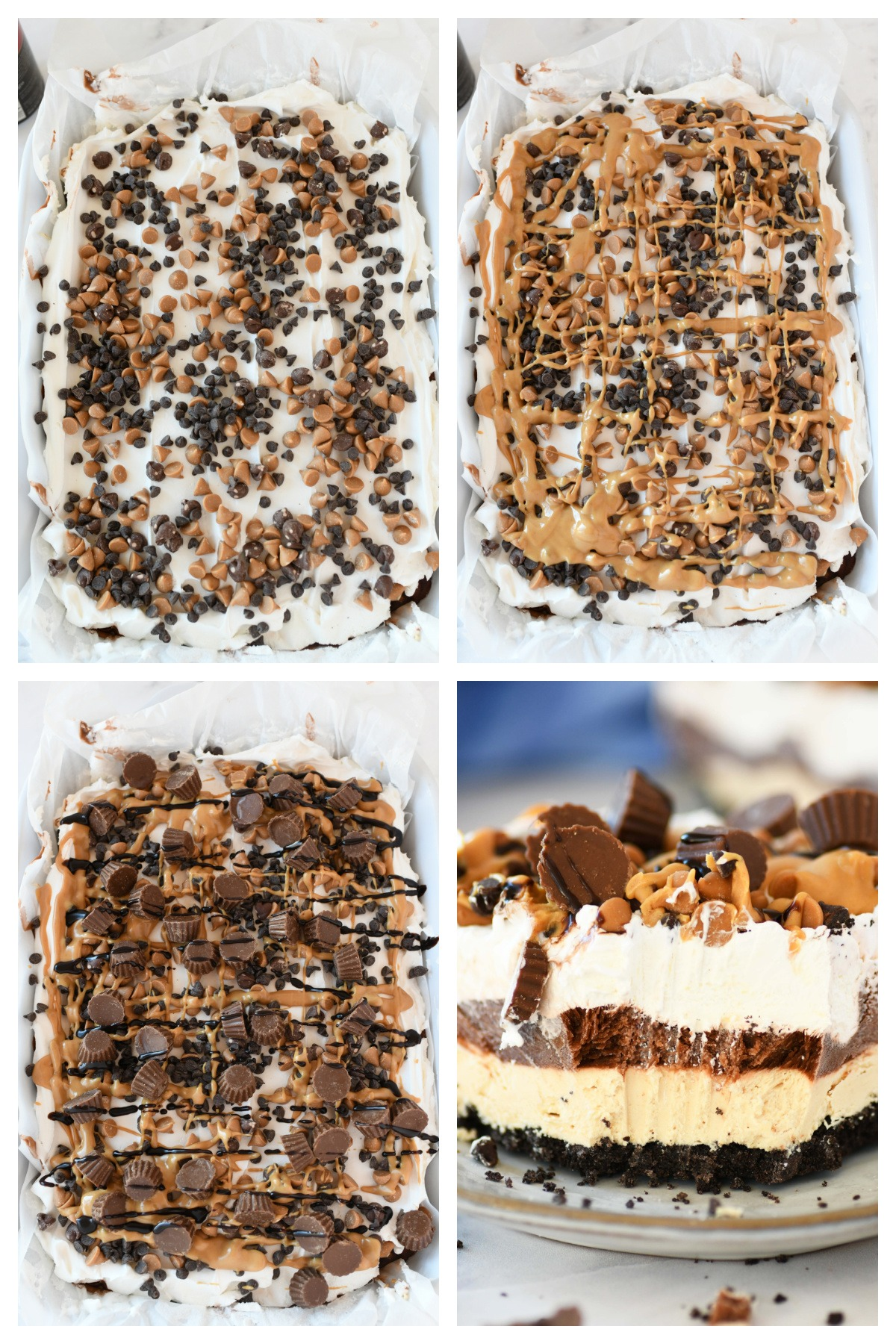 How to Make Peanut Butter Chocolate Lasagna Dessert. A 4 block image collage of the steps of topping this no-bake dessert.