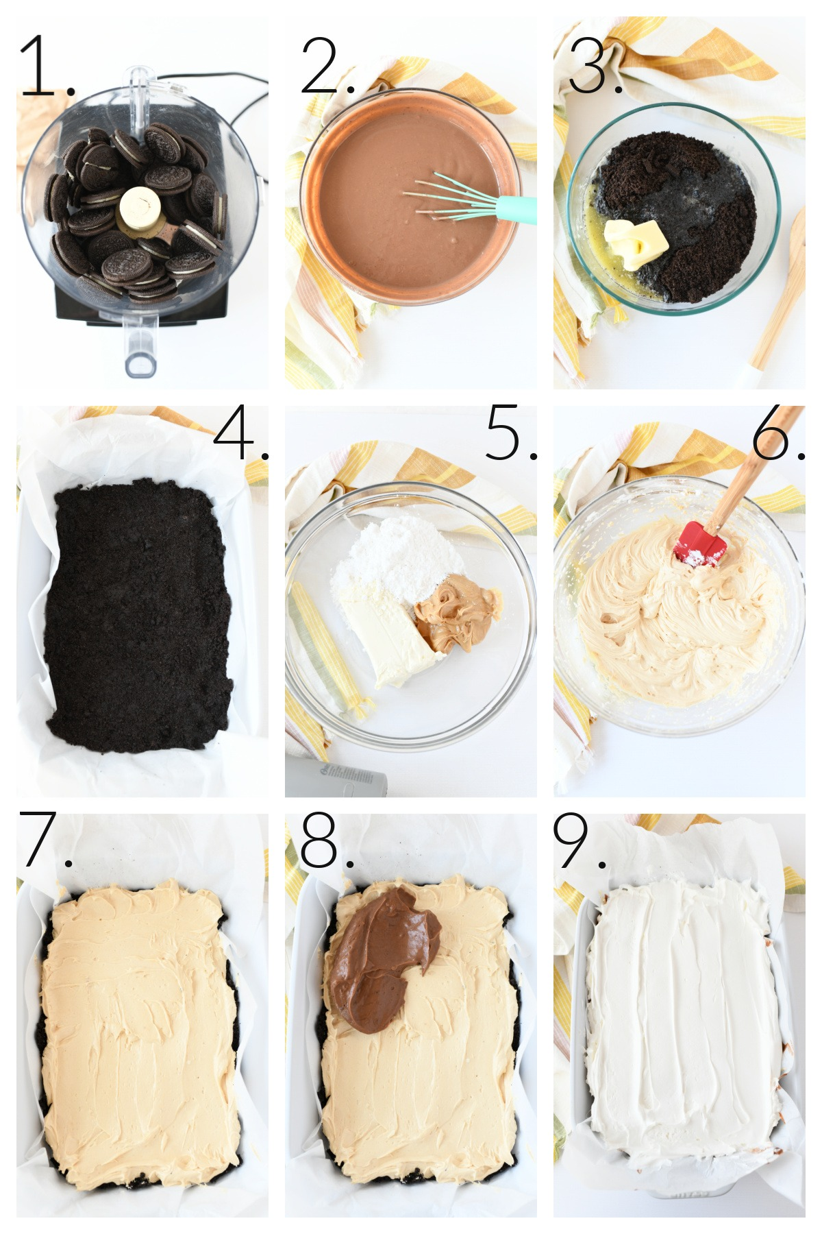 How to Make Peanut Butter Chocolate Lasagna. A 9 block grid on the steps to make this no-bake desserts.