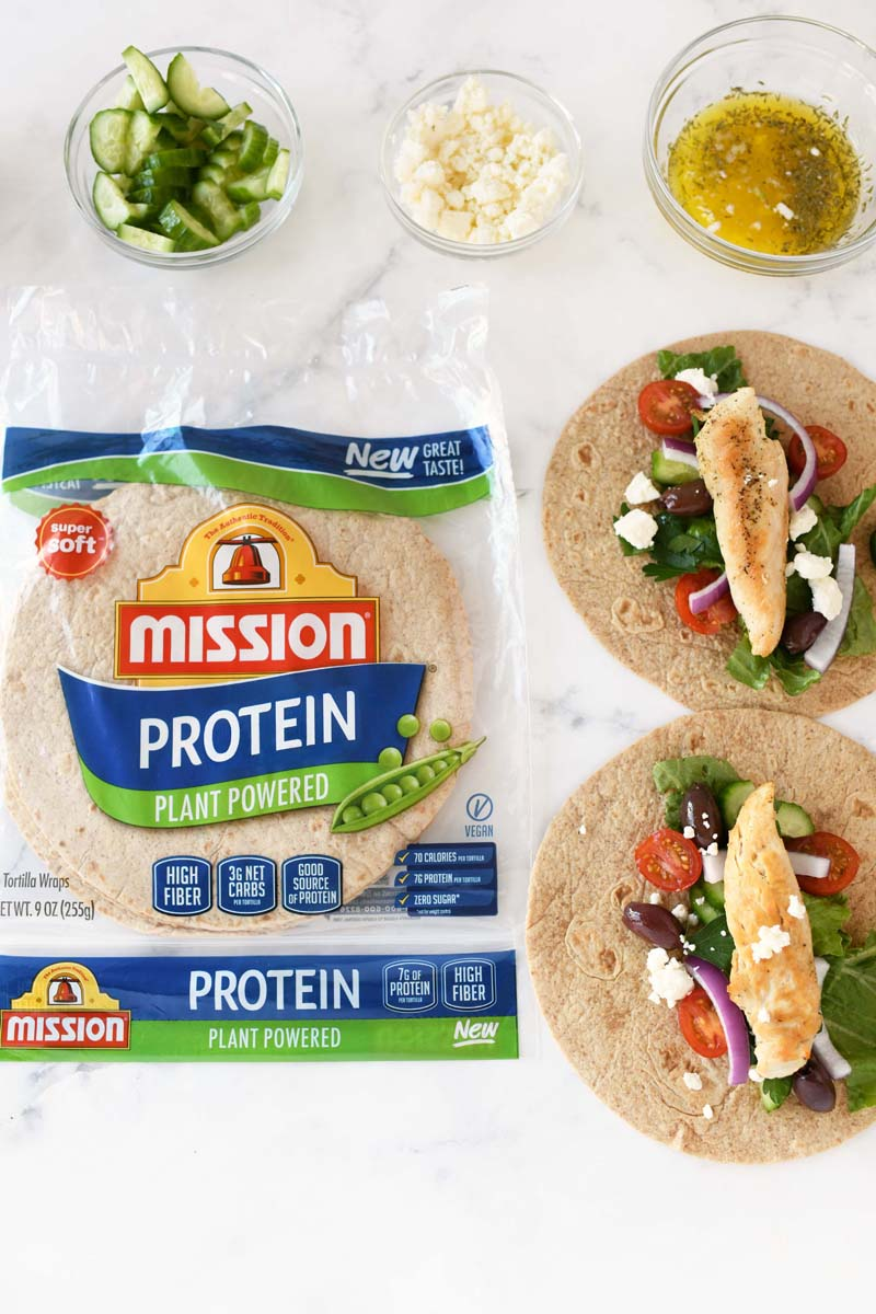 Mission Protein Wraps recipe. The product package is in the shot. There is also ingredients and finished wraps.