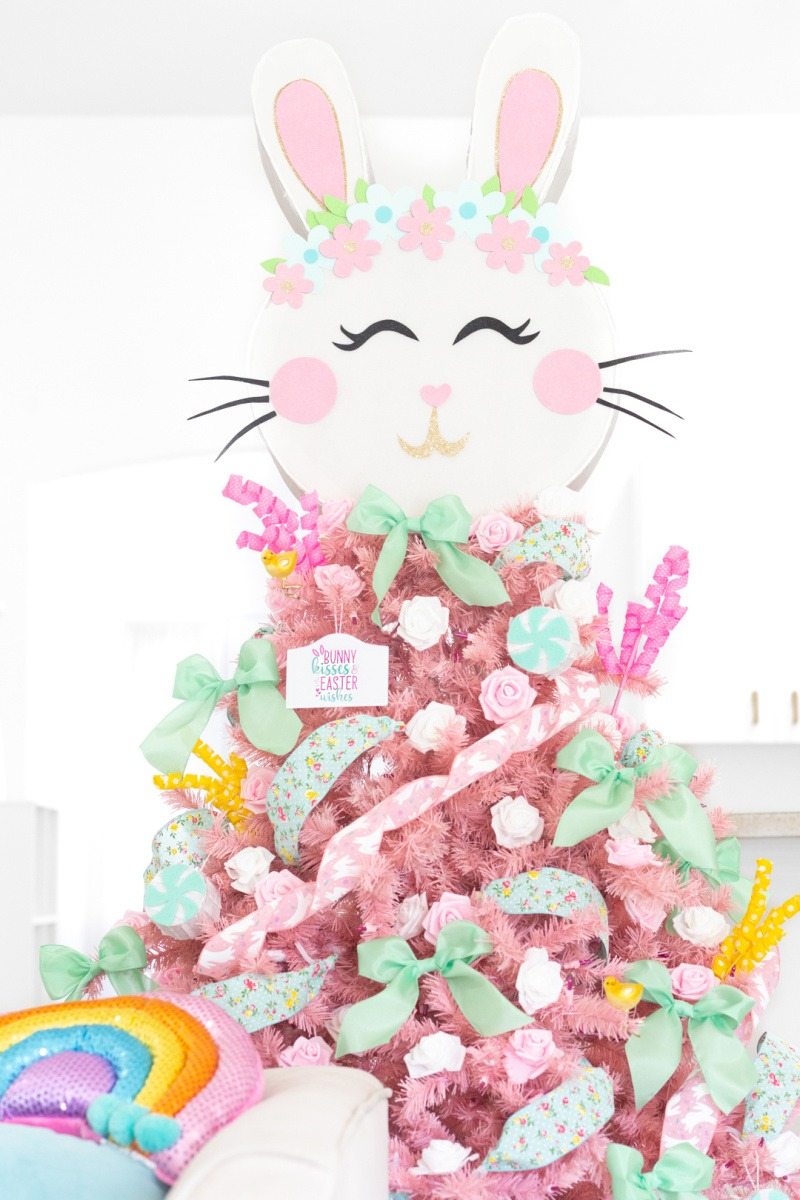Light Pink Easter Tree with a white bunny topper.