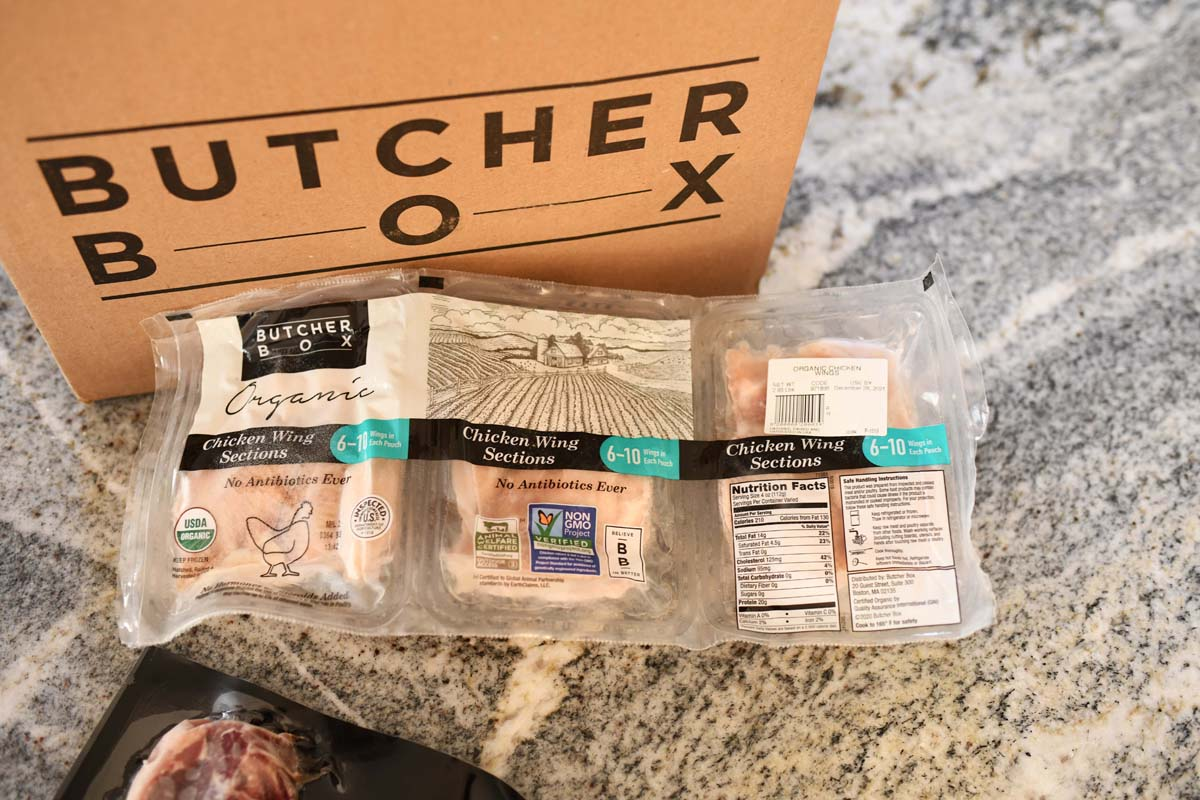 Butcher Box Free Range Frozen Chicken Wings on a counter.