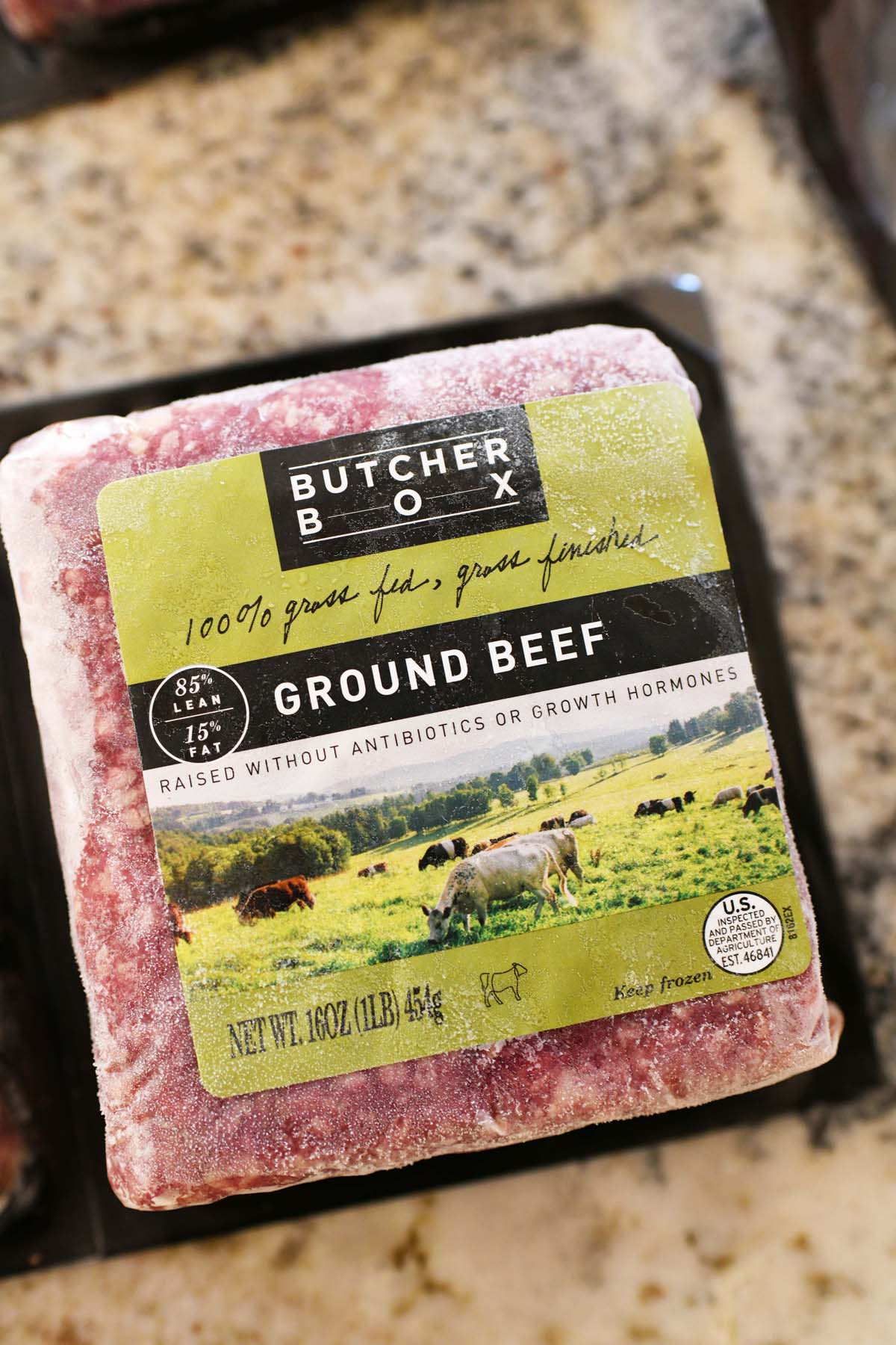 Butcher Box Ground Beef package up close on a counter.