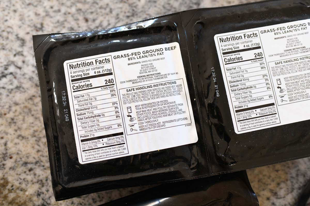Butcher Box ground beef black nutrition label back on a counter.
