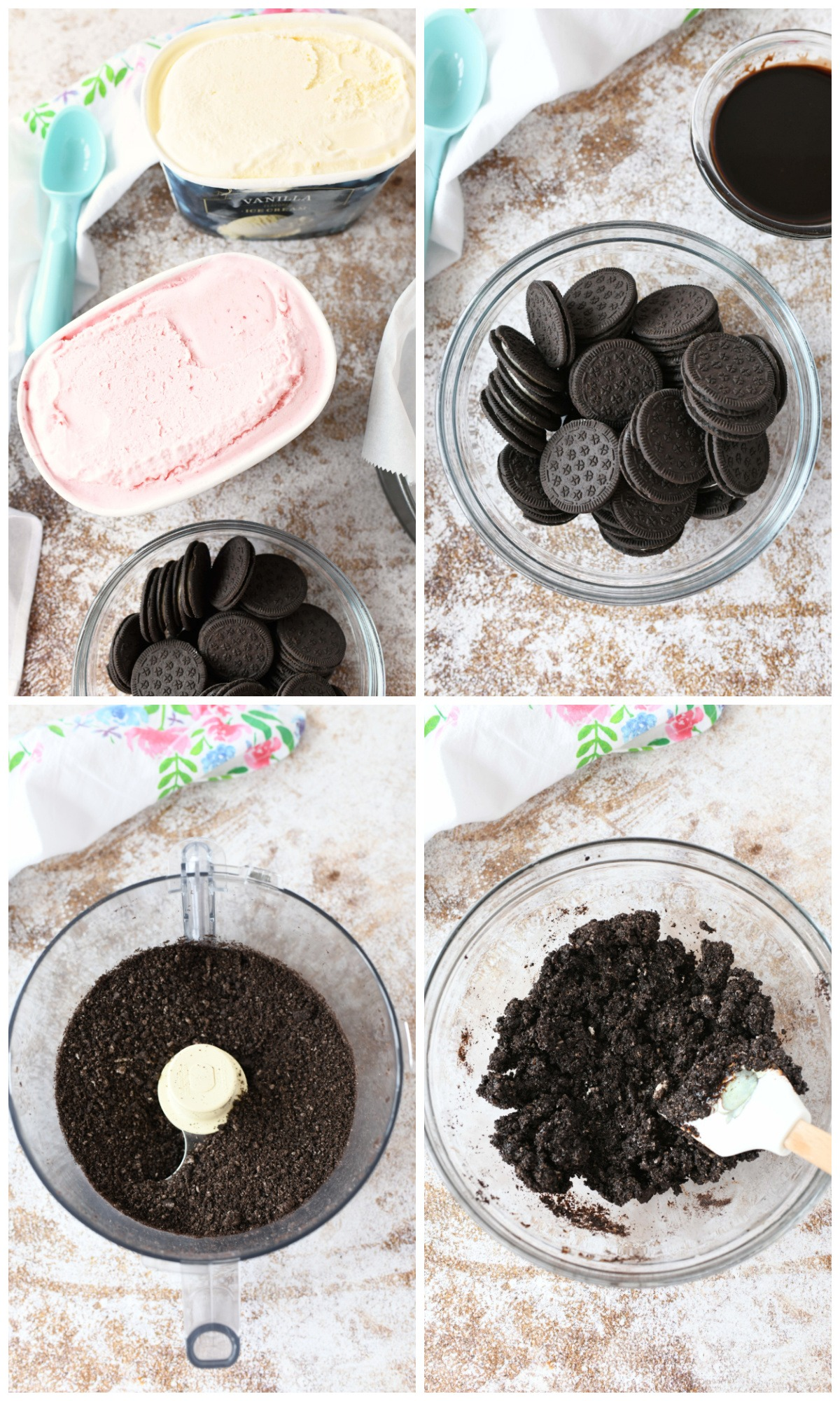 How to Make Ice Cream Cake Cookie Crumbs visual collage of the ingredients from whole to finished in a bowl.