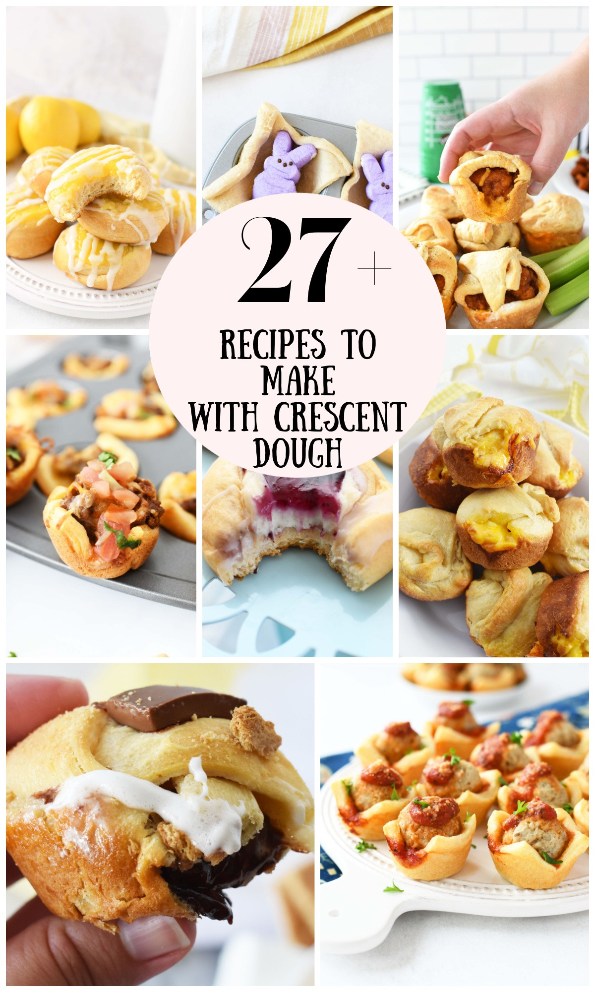A collage of baked crescent dough recipes both sweet and savory.