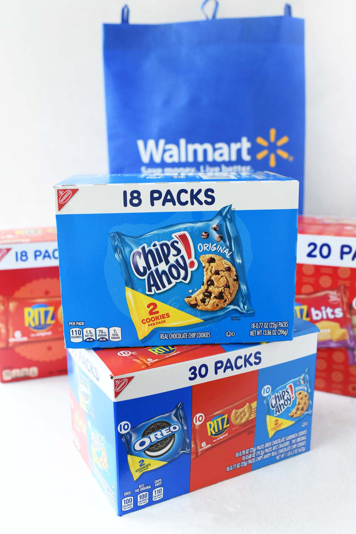 Chips Ahoy Multipack boxes with a blue Walmart bag.