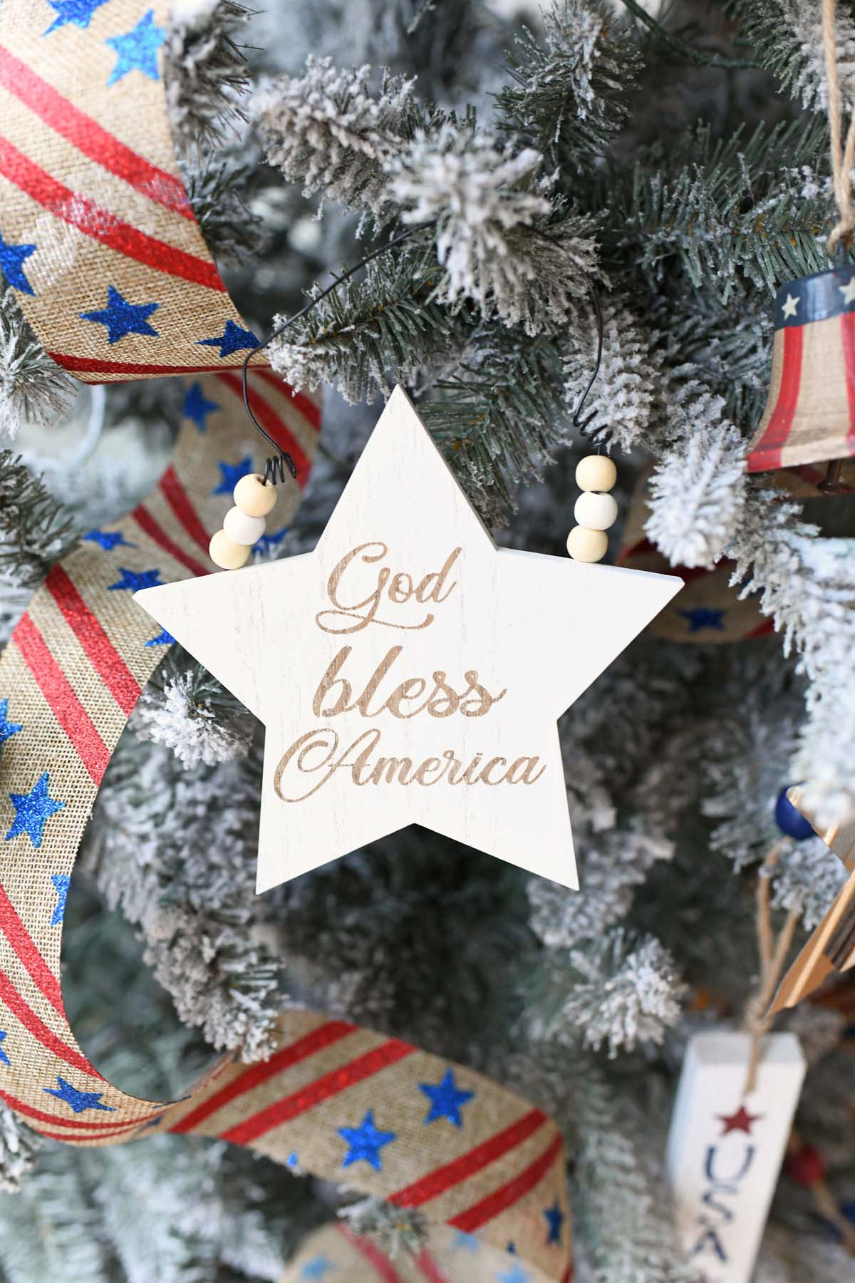 God Bless America White Star Ornament.
