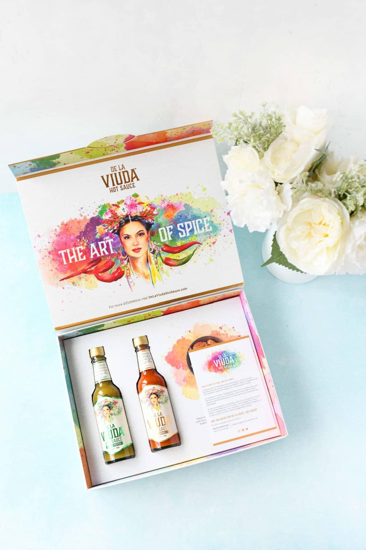 De LA Viuda Hot Sauce colorful gift box.