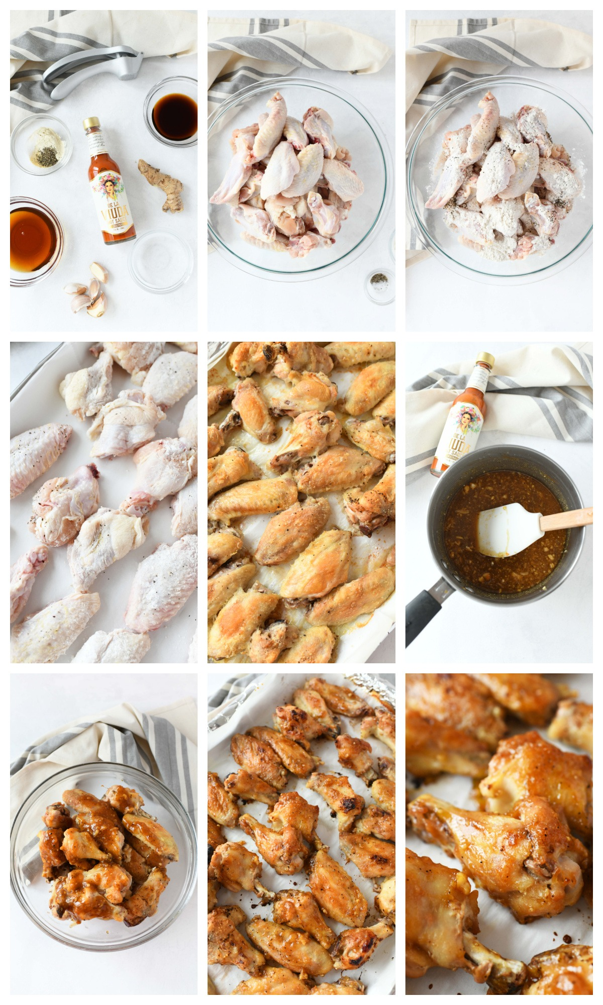 A nine image collage of the steps to making Honey Garlic Baked Wings