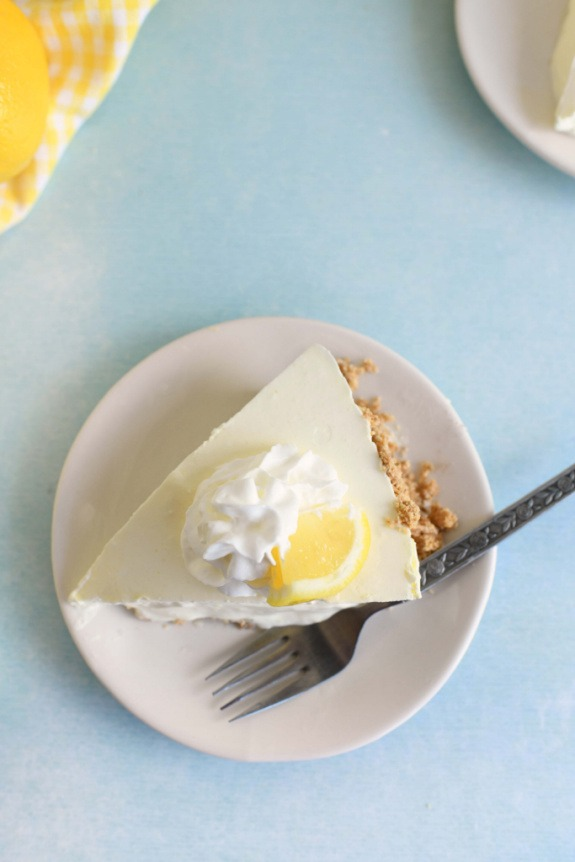 Lemon No Bake Pie on a small plate with a fork.