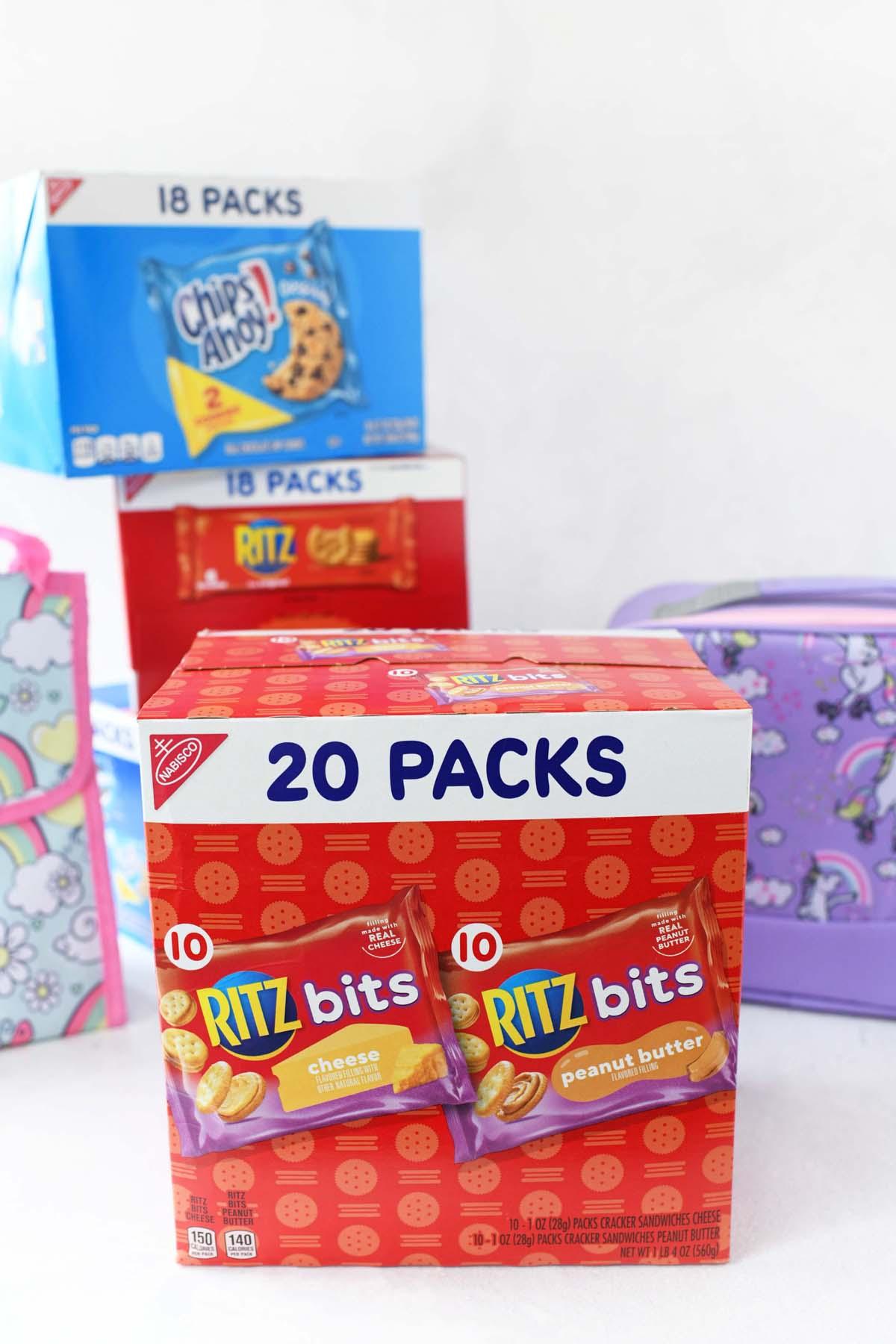 Ritz Bitz multipacks box on a white table.