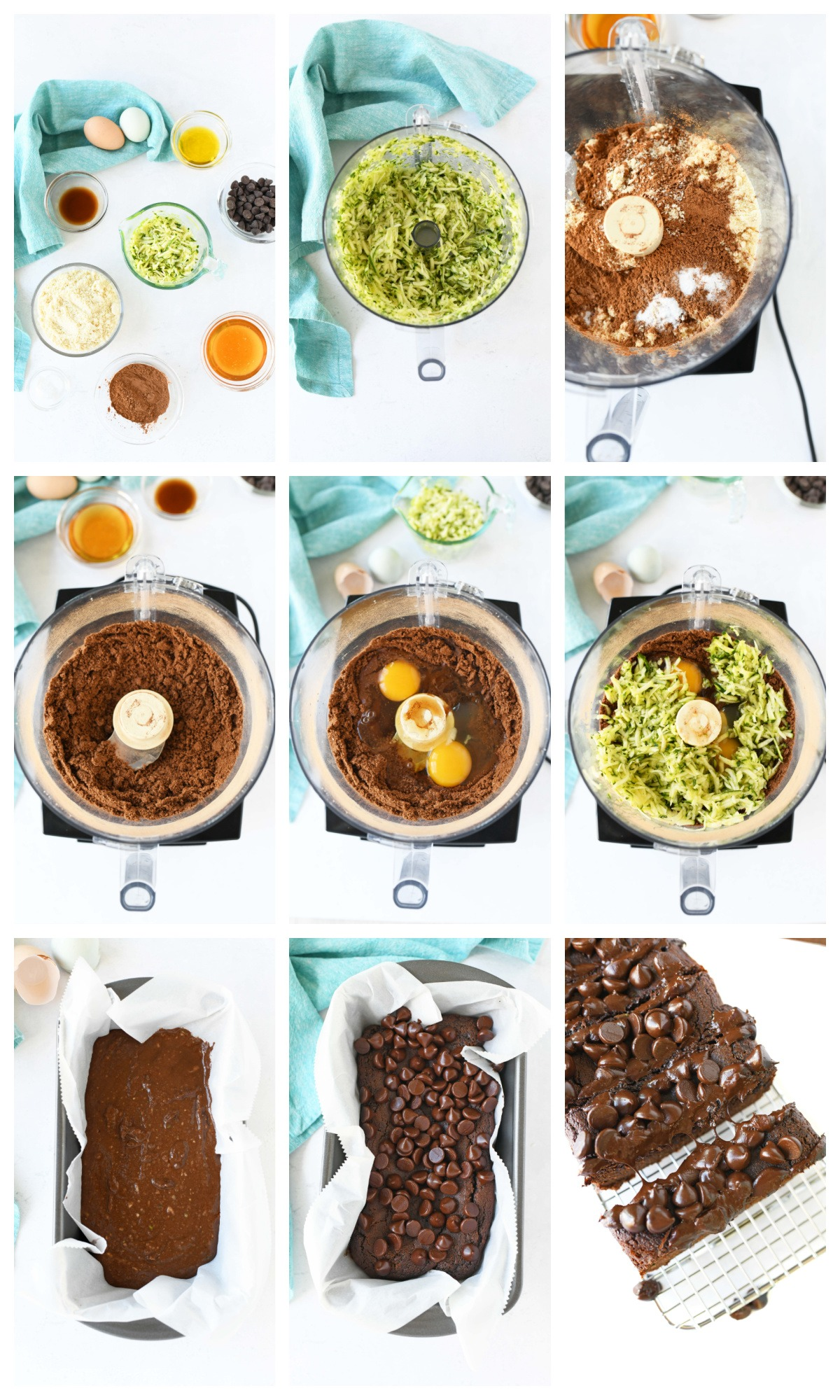 A process grid of 9 images that showcase the steps and ingredients to make chocolate paleo zucchini bread.