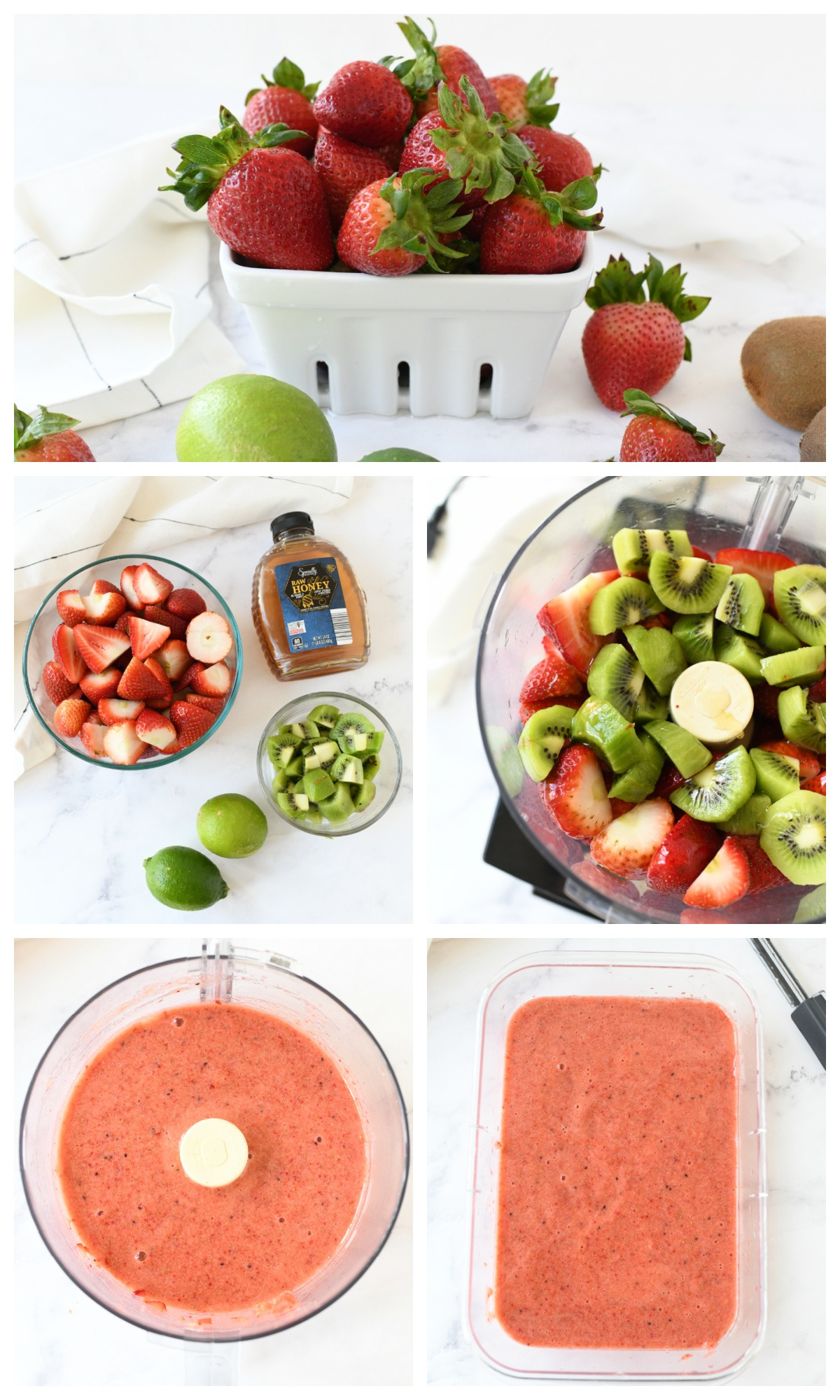 A 5 image collage that showcases the process of making strawberry sorbet,