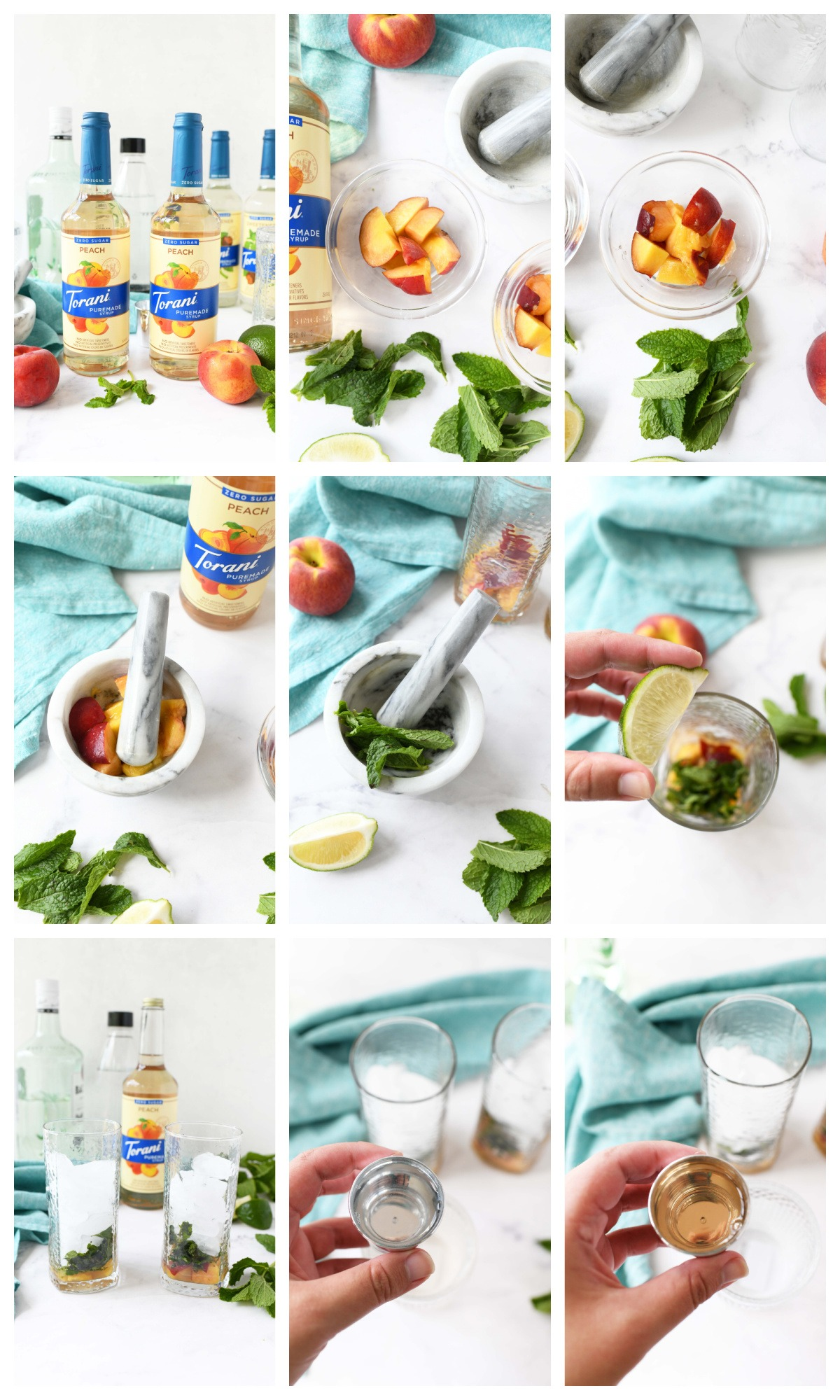 A nine image collage of how to make a peach mojito.