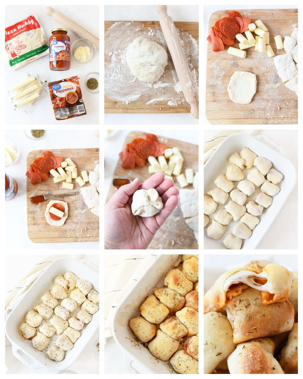 A nine image collage of the steps to make pepperoni pizza rolls.