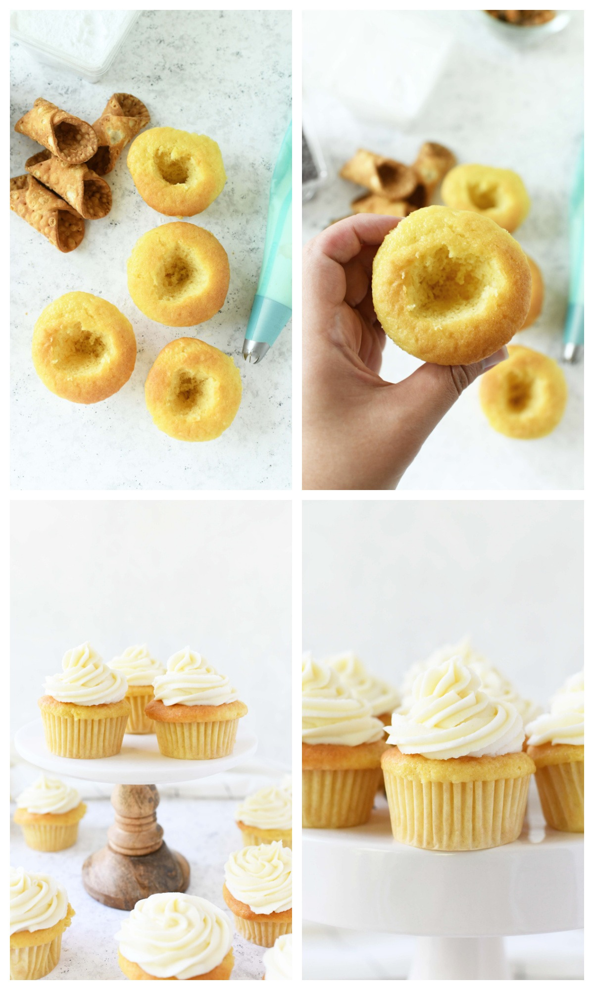 A four image collage showcasing how to make cannoli stuffed cupcakes.