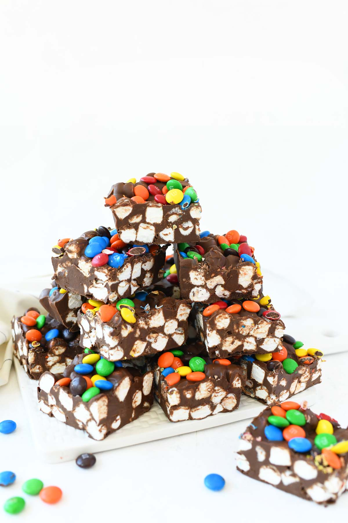 A stack of Marshmallow Dream Bars.