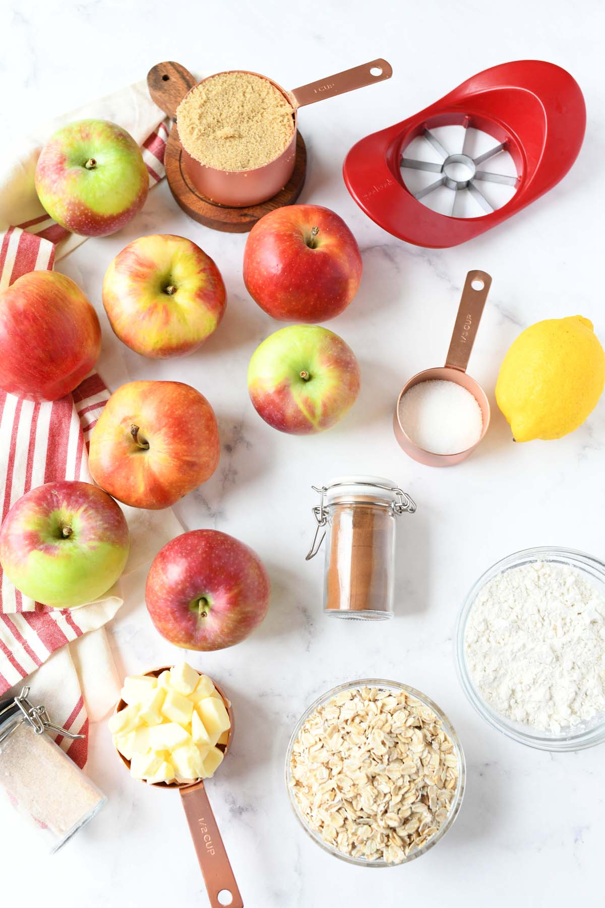 Apple Crisp Ingredients on a white table.