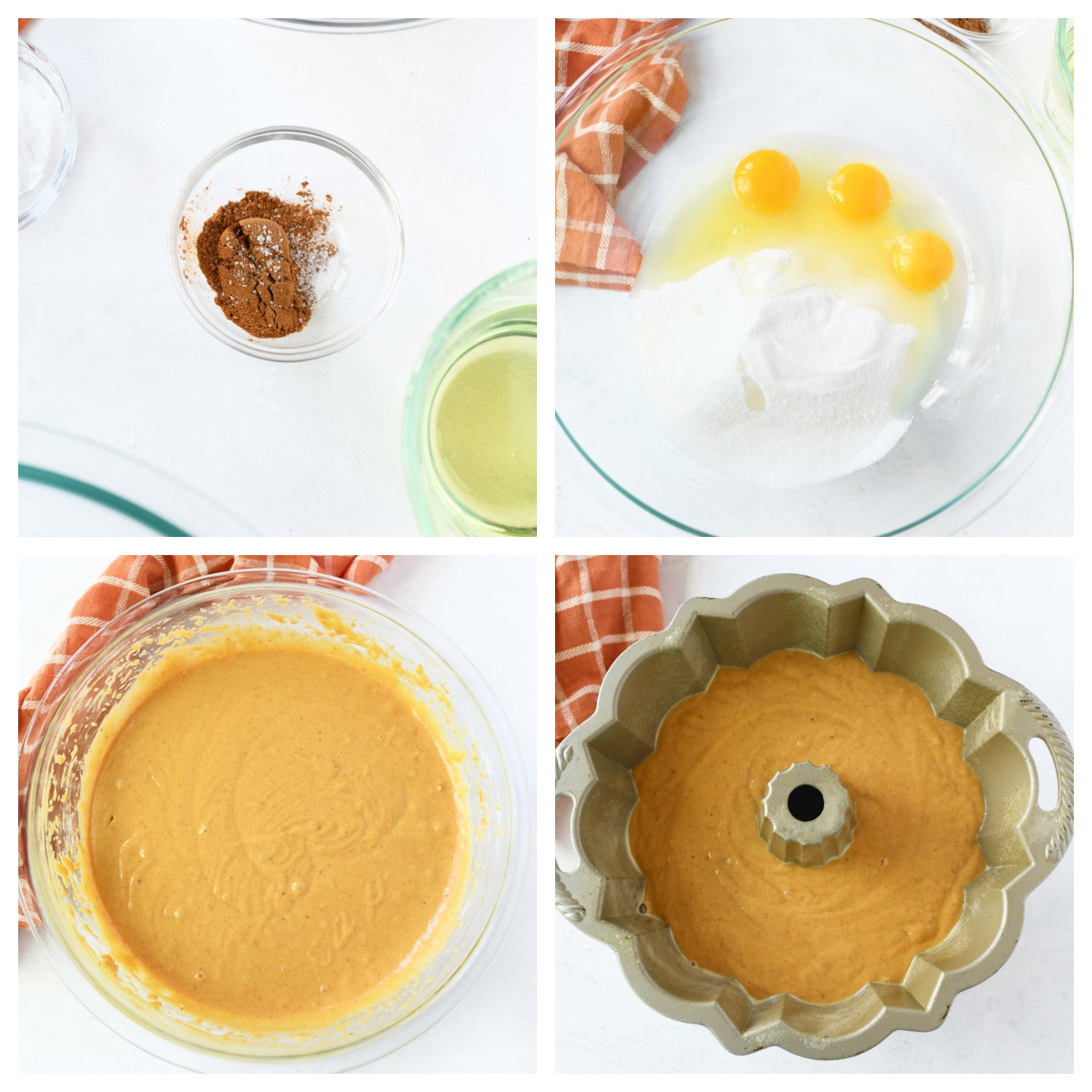 A four image collage of how to make pumpkin bundt cake.