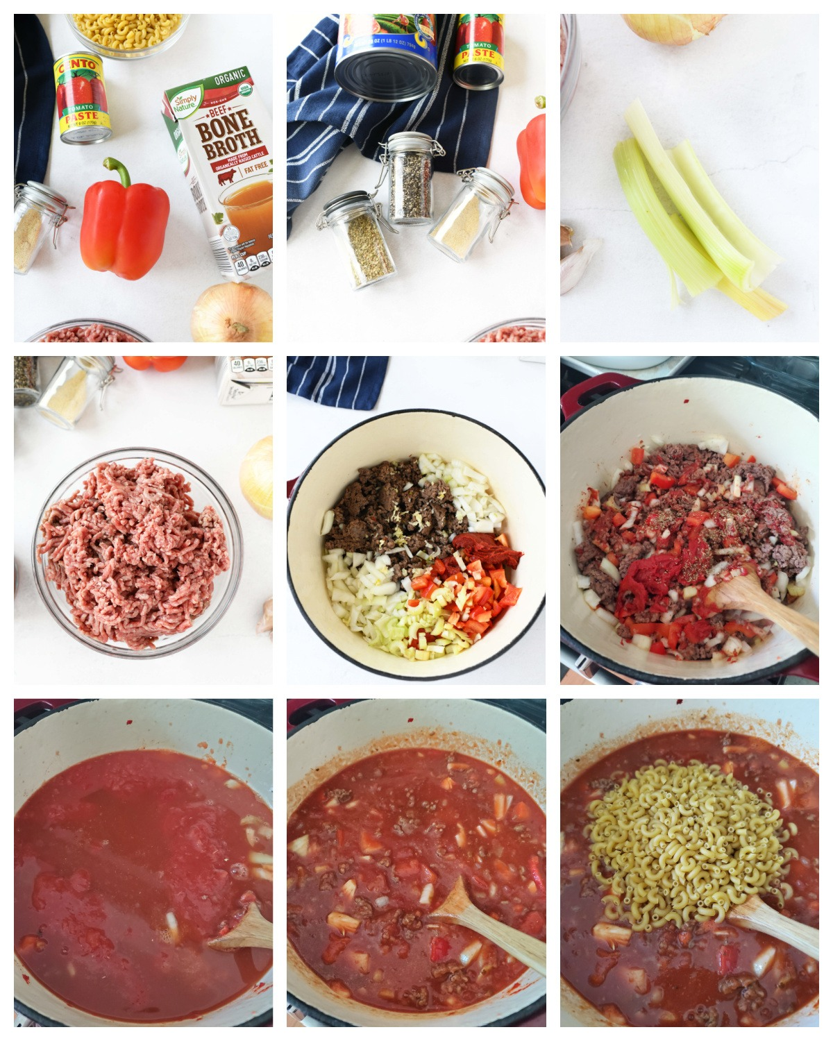 A nine block image collage on how to make American Chop Suey.