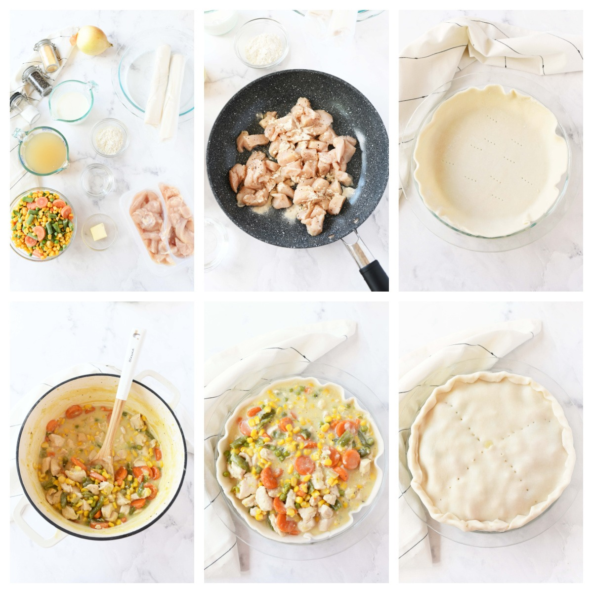 A 6 image collage of the steps to make chicken pot pie.