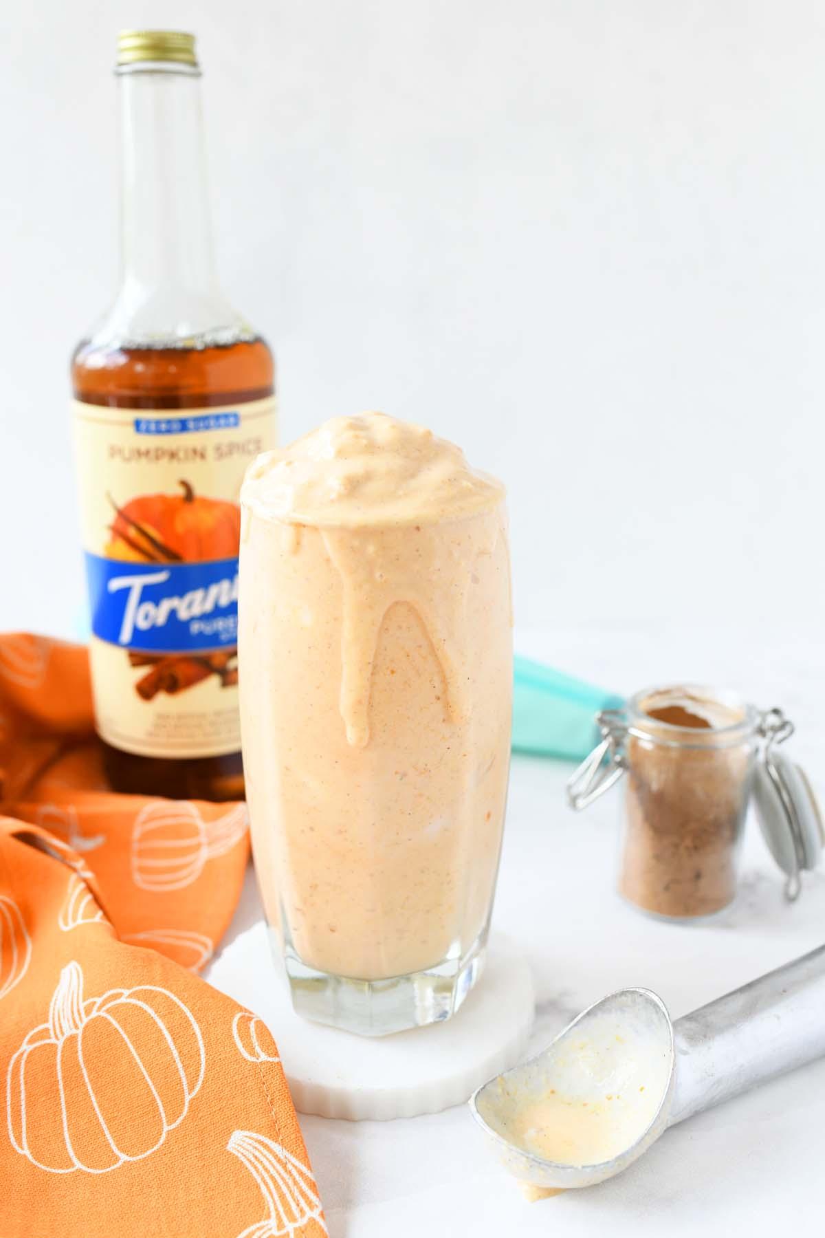 Pumpkin Pie DIY inspired Blizzard drink in a glass.