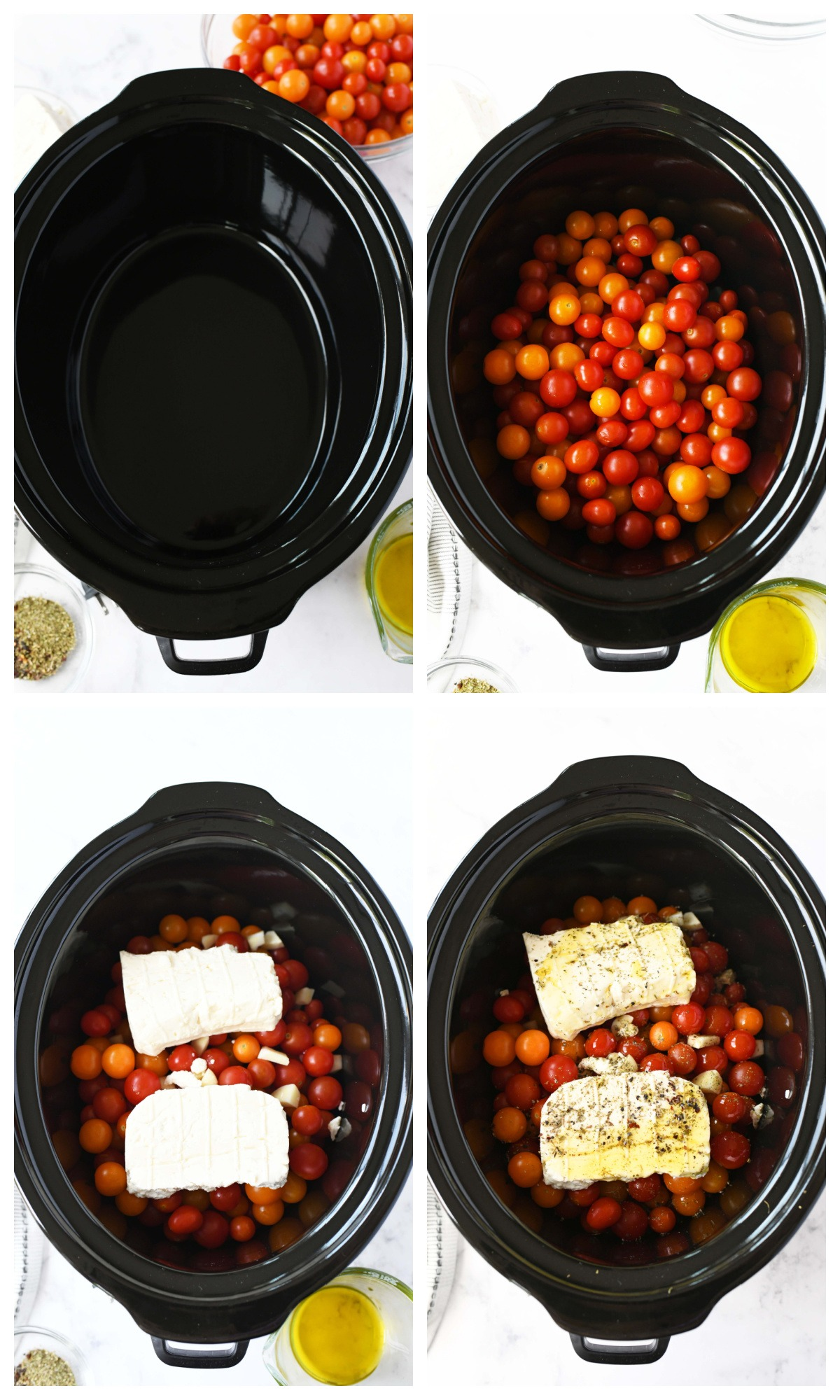 A 4 image collage of the steps to make slow cooker feta pasta.