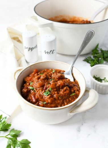 Bowl of Chunky Chili with with a spoon.