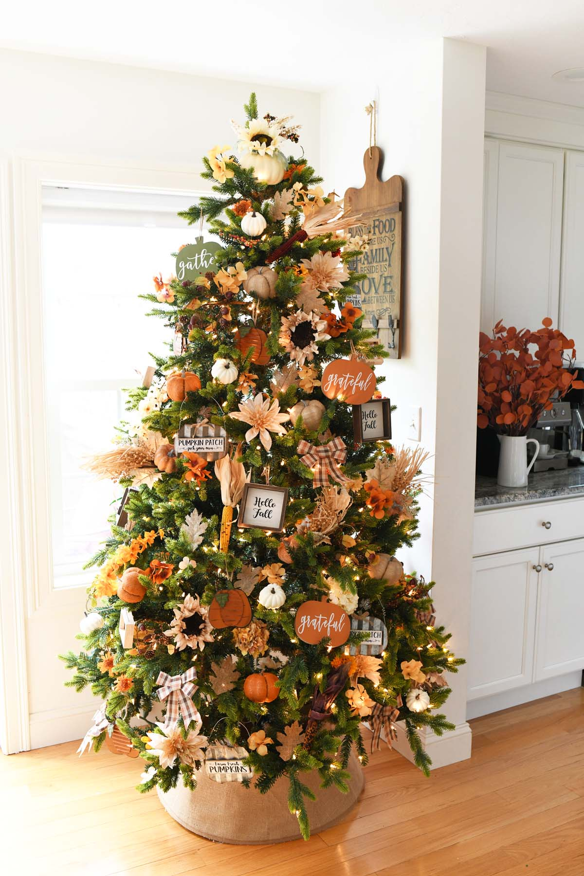 Harvest Christmas Tree decorated in the dining room.