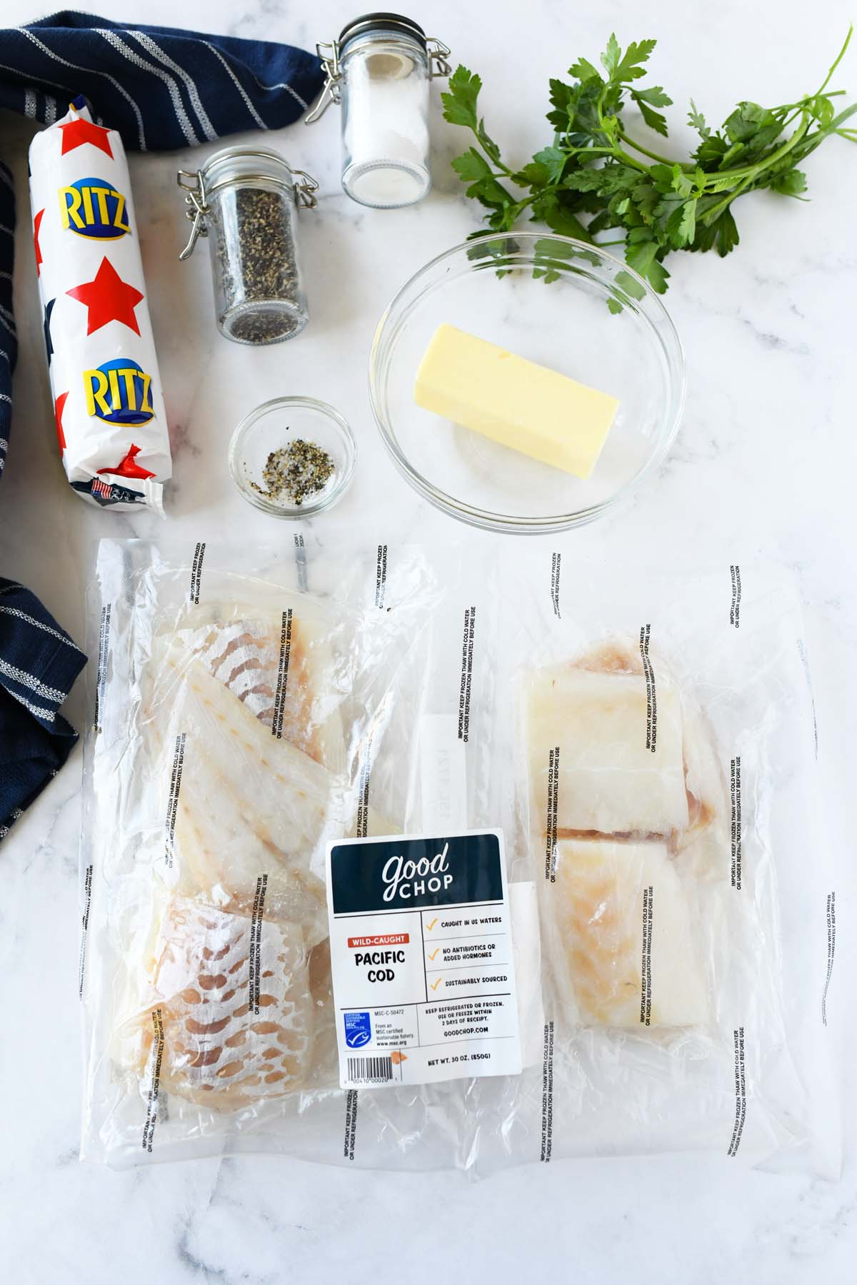 Good Chop Pacific Cod on a table with ingredients.