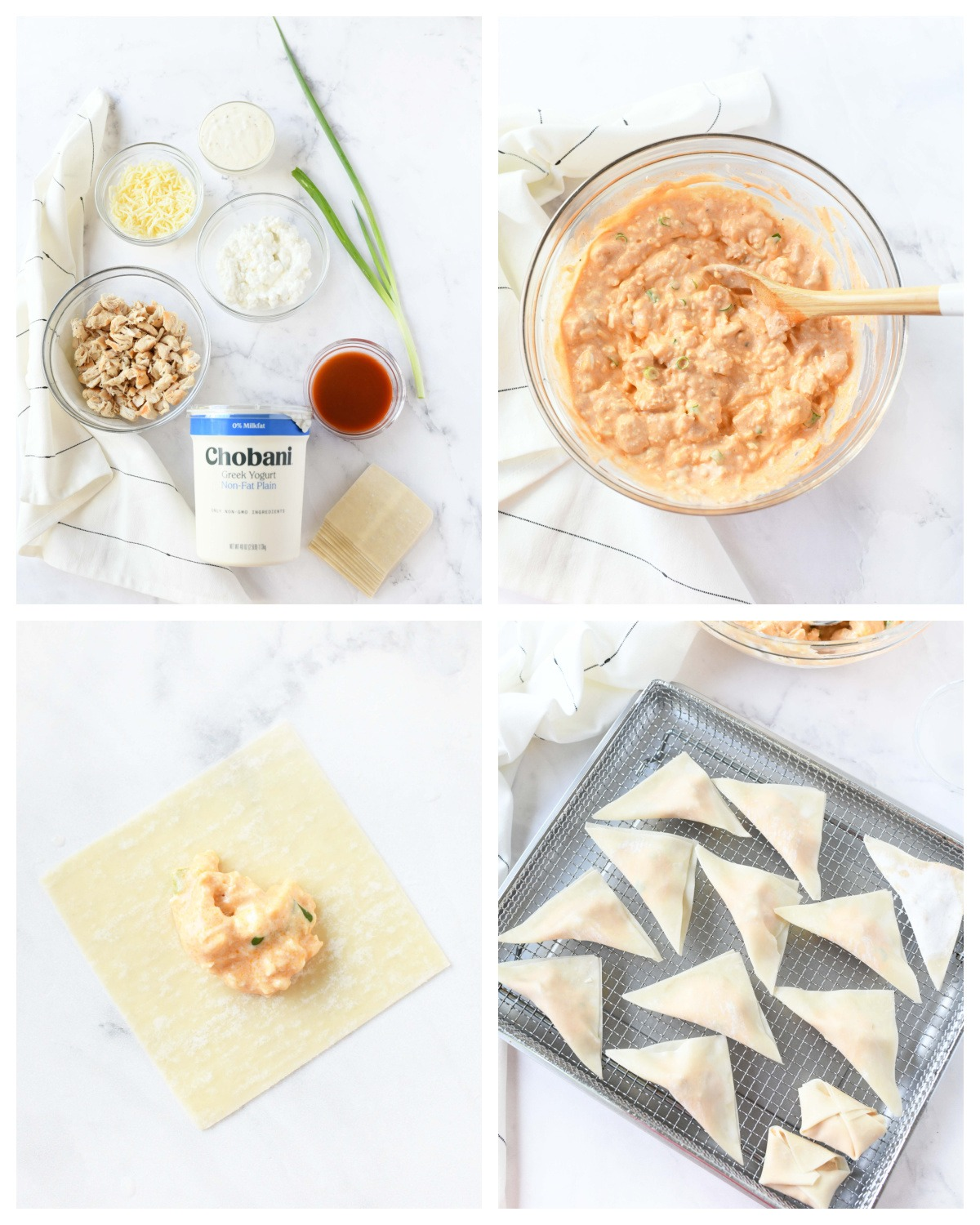 A four image collage on how to make buffalo chicken wontons.