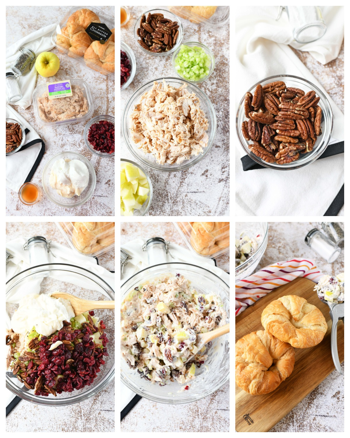 A 6 image collage of the steps to make fall chicken salad.