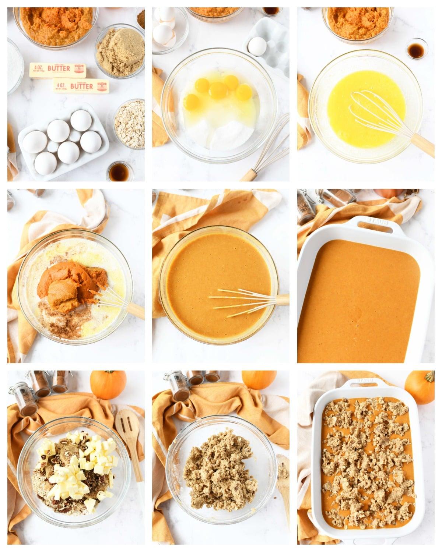 A nine image collage showing the steps to make pumpkin crisp.