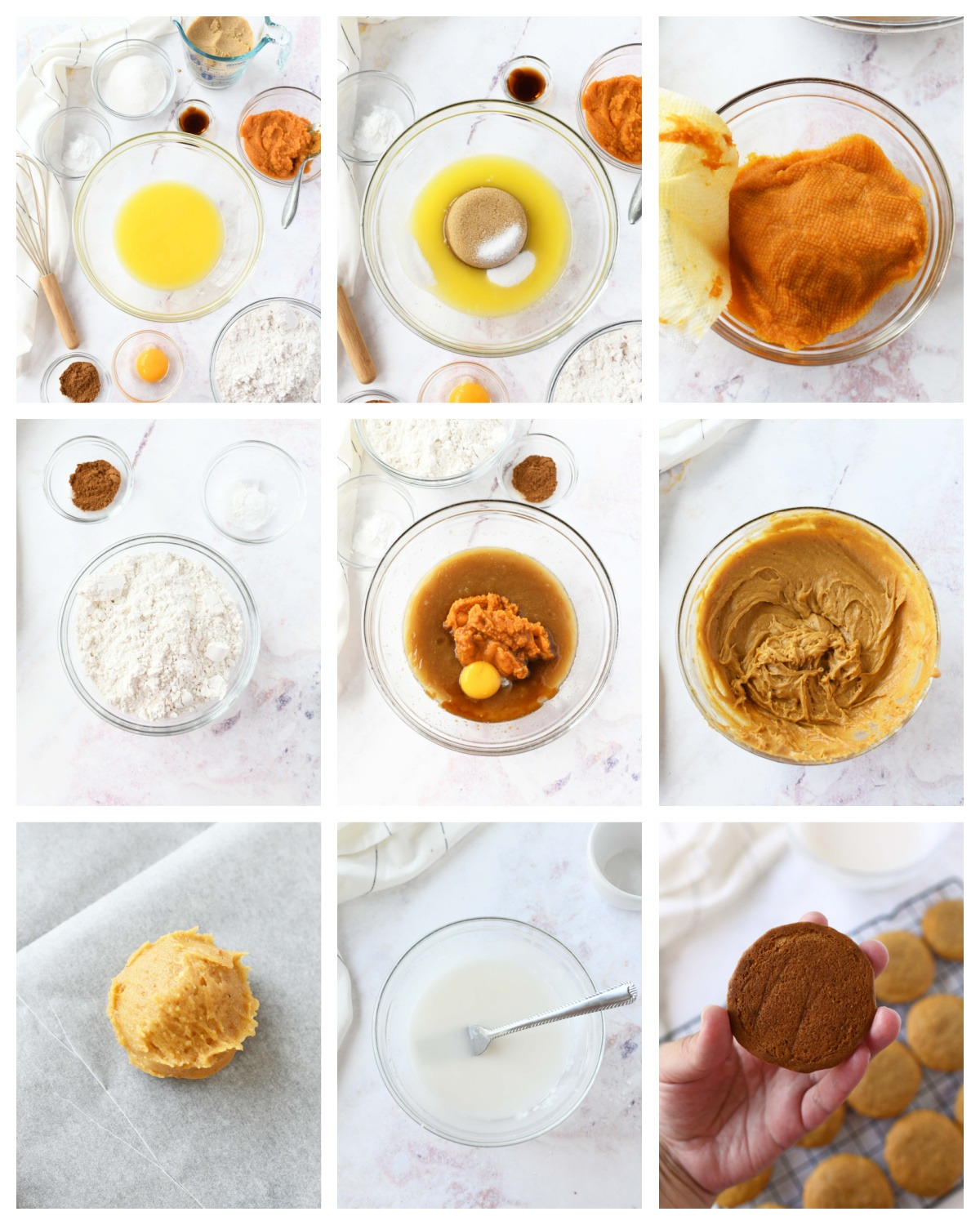 A nine image collage of how to make chewy pumpkin cookies.
