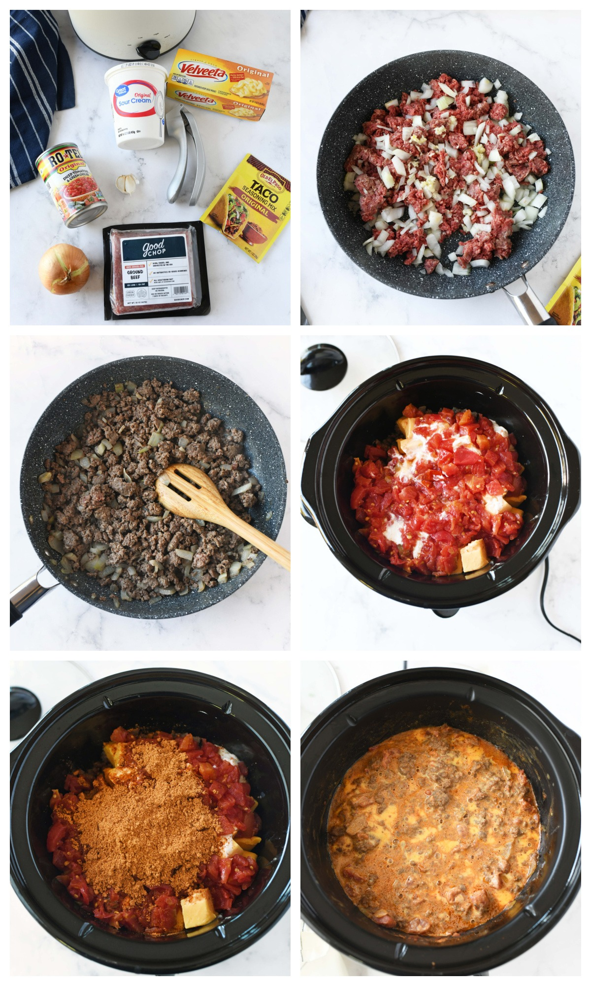 A 6 image collage of the steps to make slow cooker taco dip.