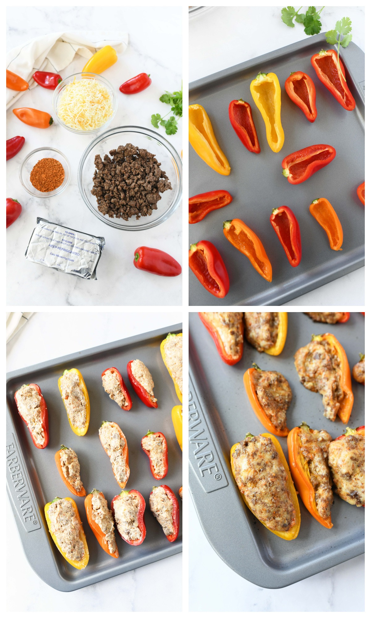 A four image collage of how to make stuffed taco peppers.